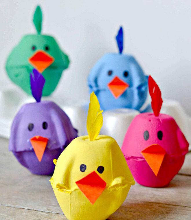 Egg carton spring chicks