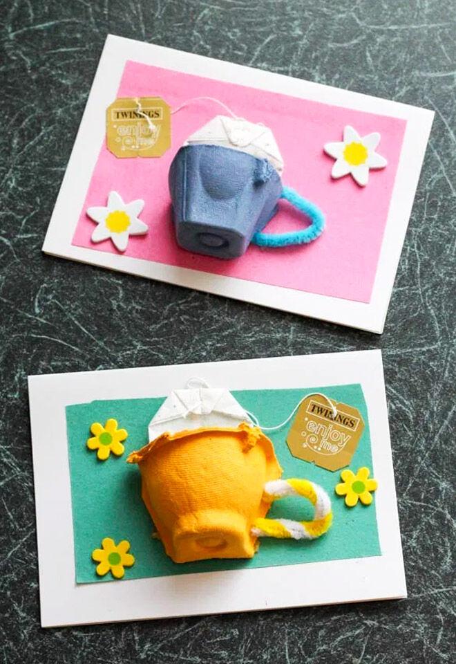 Egg carton tea cup card