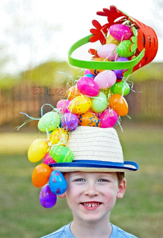Plastic egg Easter bonnet