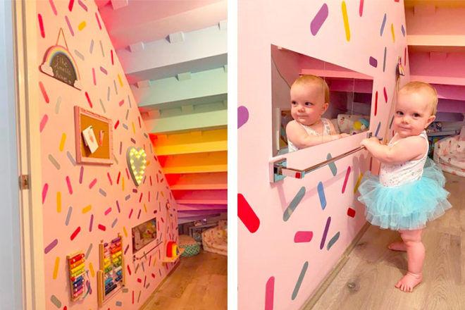 Toddler playroom hidden under stairs