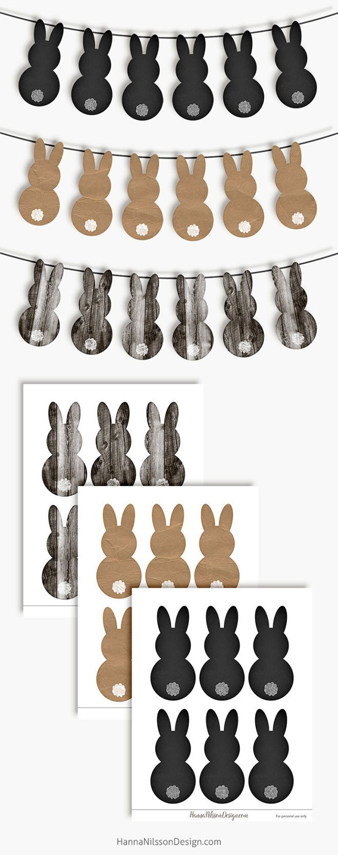 Printable Easter Bunny Banners by Hannah Nilsson Designs