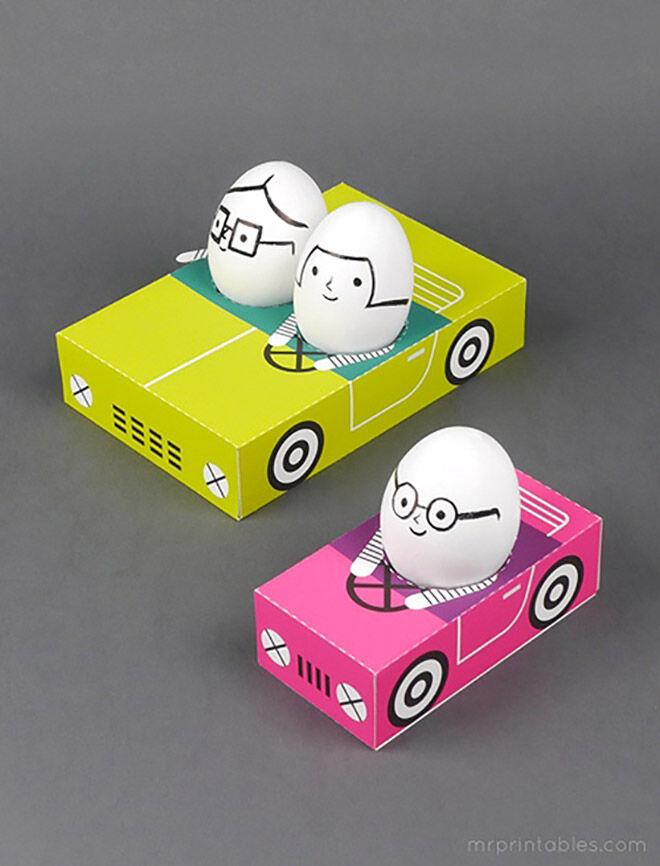 Mr Printables Easter Egg People in Cars