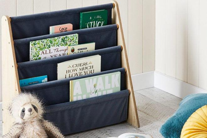Best Kids Bookshelf: Adairs Haven Velvet Blue Bookshelf