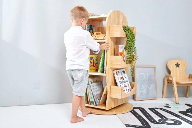 Best Kids Bookshelf: Mesasilla Revolving Solid Wood Bookcase