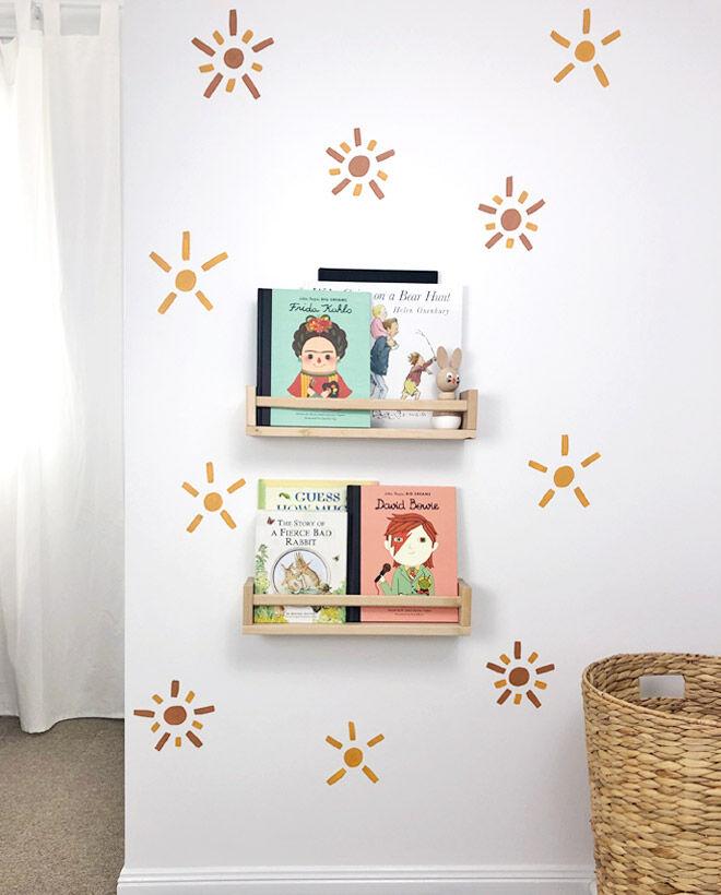 Bookshelves in boys nursery