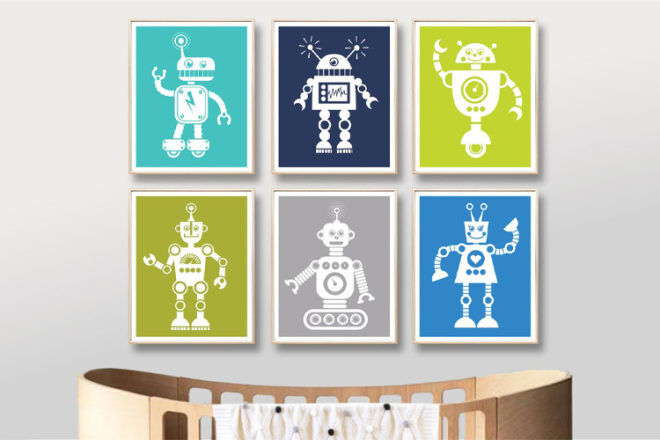 Best Robot Toys and Gifts: Joy Parade Co. Robot Wall Art