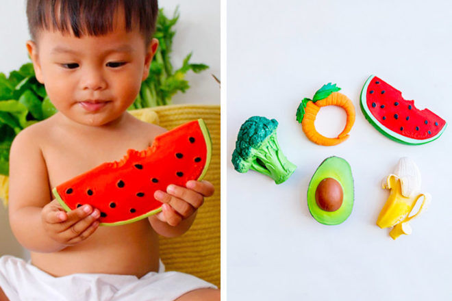 Best Gifts and Toys for 3 Month Olds: Oli & Carol Fruits & Veggies Teething Toys