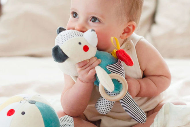 Best Toys for 6 Month Olds: Petit Collage Organic Baby Activity Bear