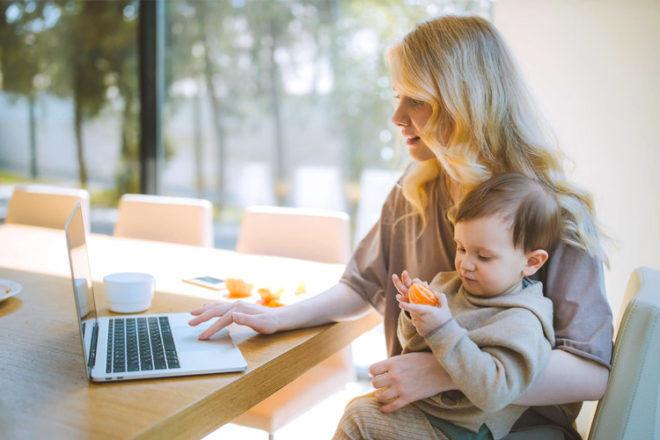 Mum on laptop