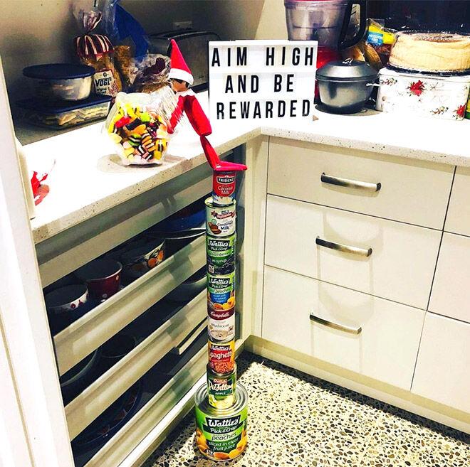 Elf on the Shelf ideas aim high