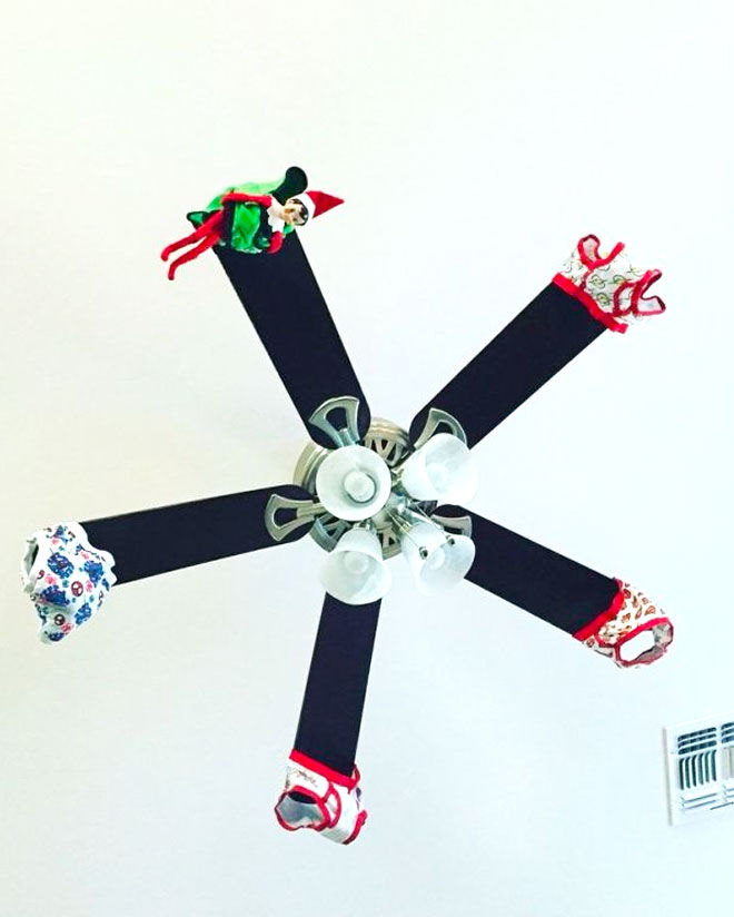 Elf on the Shelf ideas undies on fan