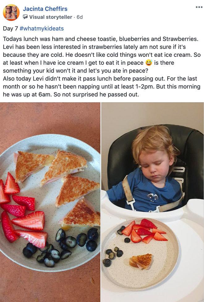 Jacinta Cheffirs photos of toddler meals babyU