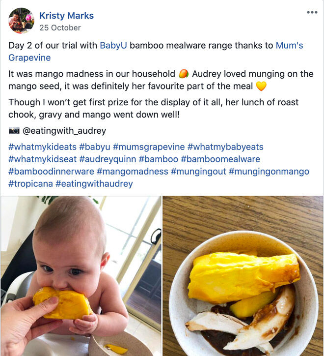 Kristy Marks toddler meals with babyU bamboo dinnerware