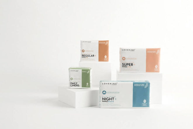 Lovekins feminine hygiene pads and liners