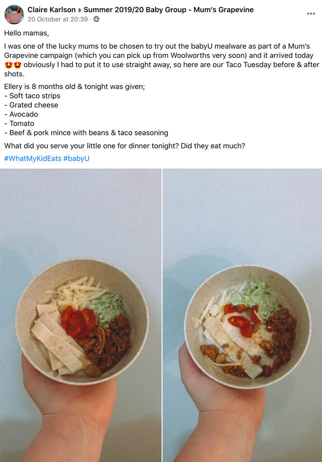 What mums feed their kids babyU