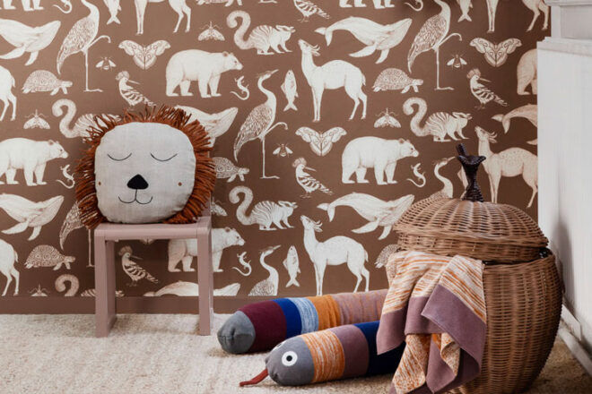 Ferm Living Katie Scott Animals Nursery Wallpaper
