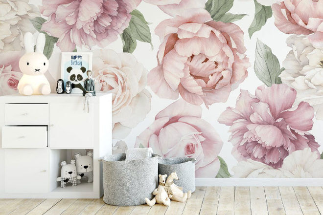 Ginger Monkey Peony and Rose Nursery Wallpaper