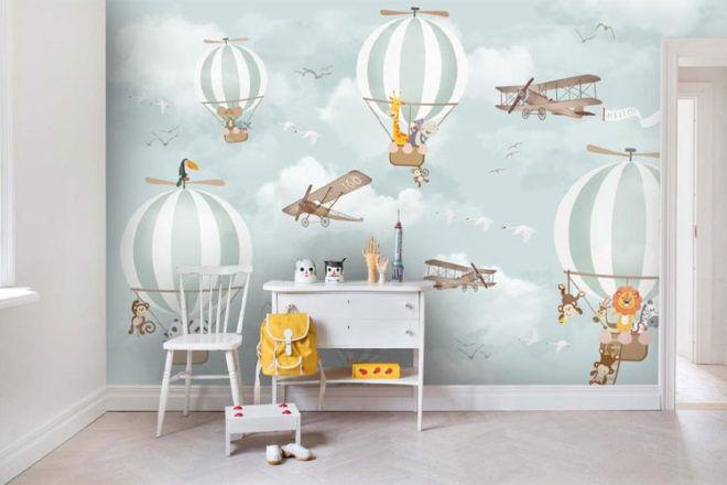 Jess Art Decoration 3D Hot Air Balloon Nursery Wallpaper