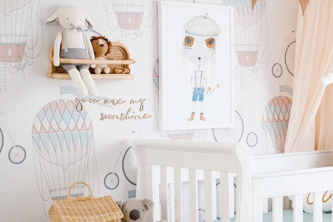 Little Lion House Bikes and Balloons Nursery Wallpaper