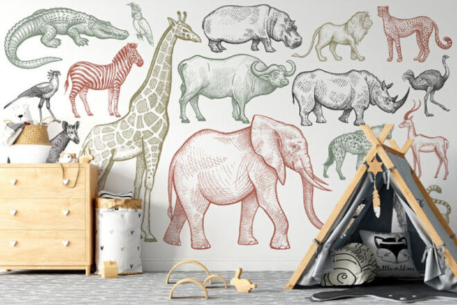 Natty and Polly African Animals Mural