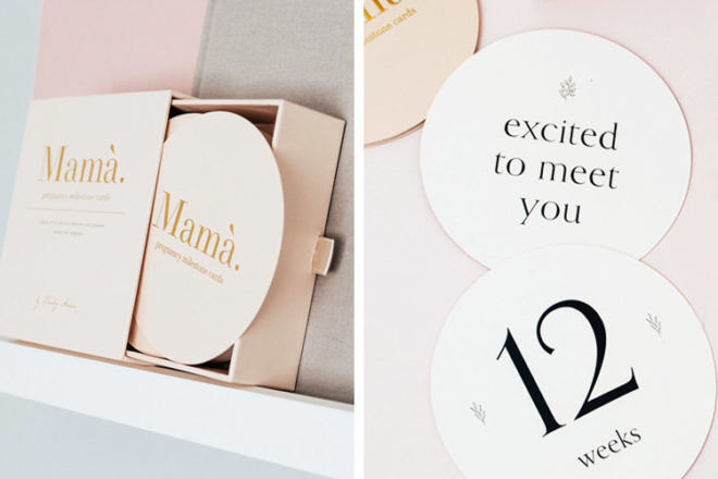 Truly Amor Mama Pregnancy Milestone Cards