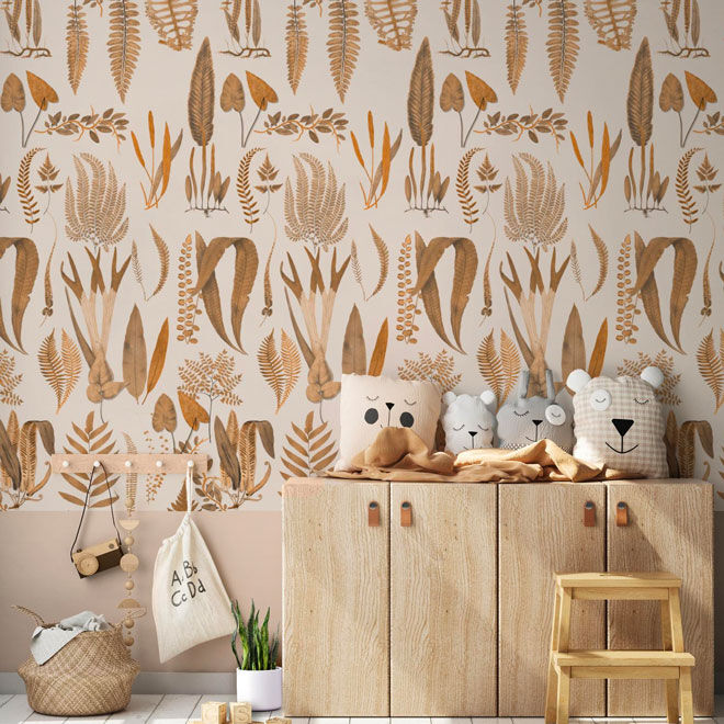Thistle and Fox Fern Forest Nursery Wallpaper
