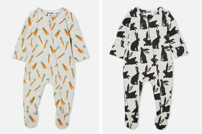 Cotton On Kids Long-Sleeve Zip Rompers Easter PJs