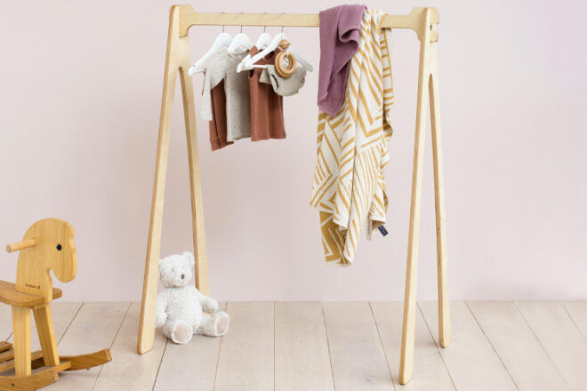 My Little Giggles Natural Timber Kids Clothes Rack