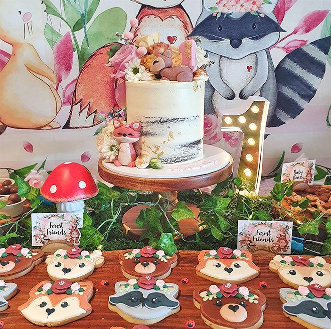 Woodland Wild One first birthday cake