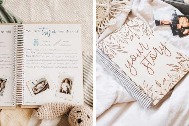 Hello Fern Wooden Baby Memory Book